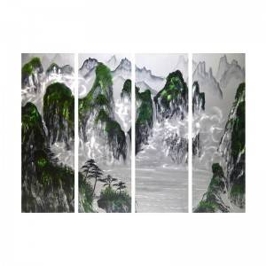 XXL size handpaint mountain landscape 3D metal oil painting modern wall art crafts