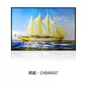 Sailing boat 3D brush print metal oil painting modern artwork decoration wholesale from China