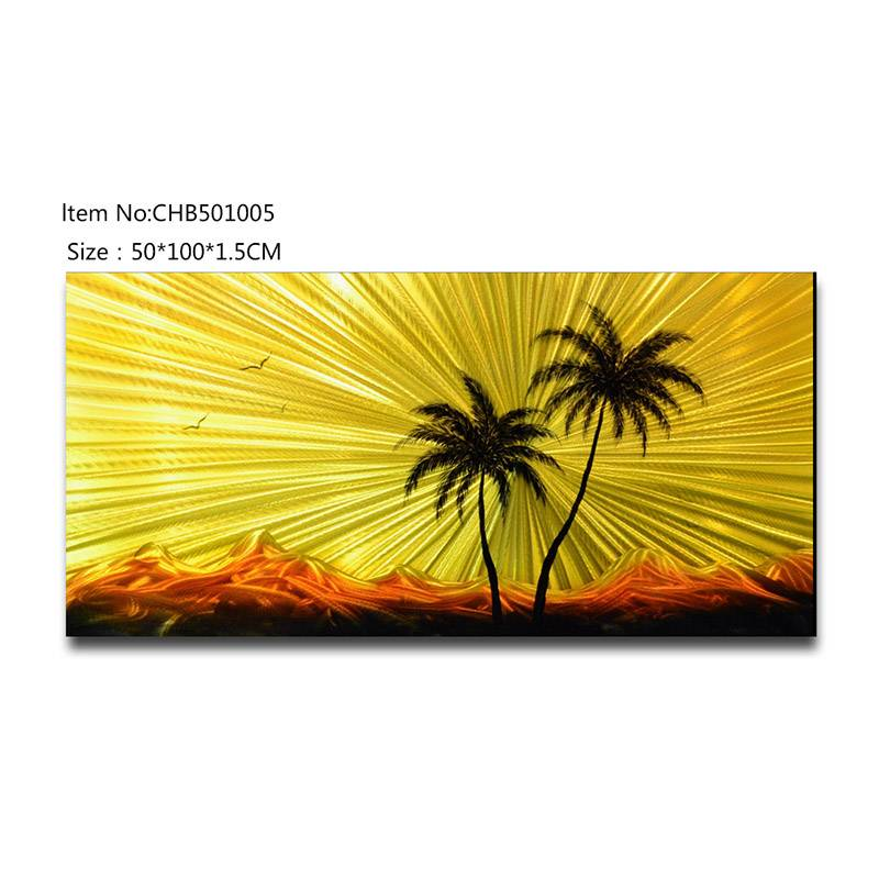 3D coconut tree metal oil painting contemprory wall art decoration