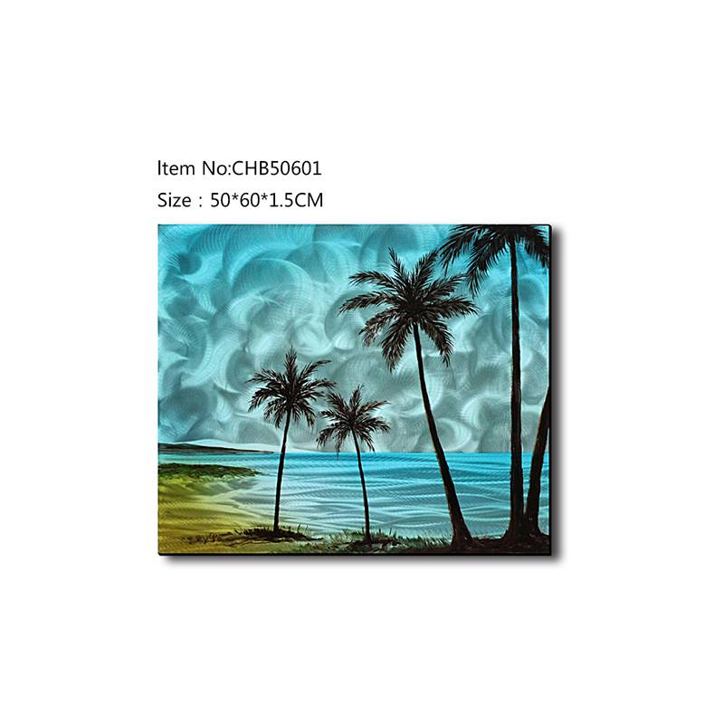 Coconut Tree seascape 3D blue metal oil painting contemprory wall art decor