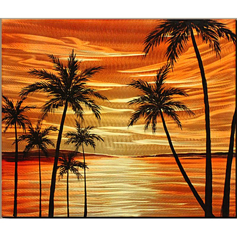 Tree seascape 3D orange metal oil painting contemprory wall art decor