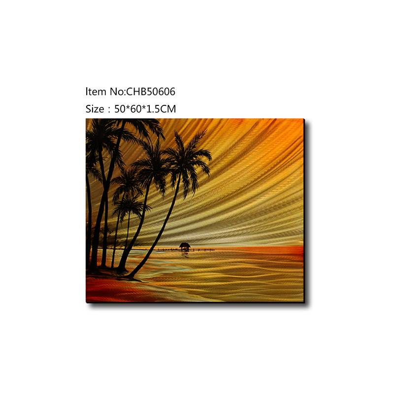 Coconut Tree seascape 3D orange metal oil painting contemprory wall art decor
