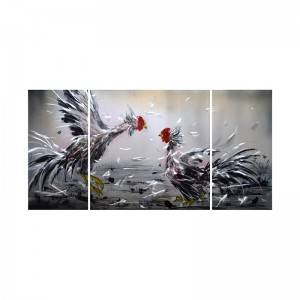 Fighting rooster 3D metal oil painting modern wall art decor 100% handmade