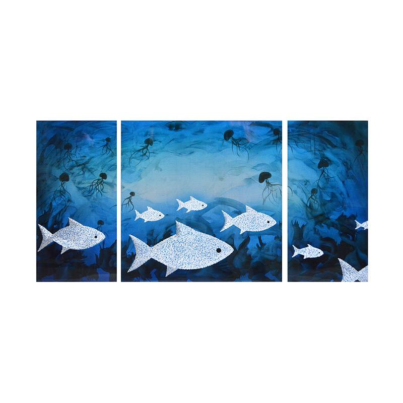School of fish 3D metal blue oil painting modern wall art decor 100% handmade