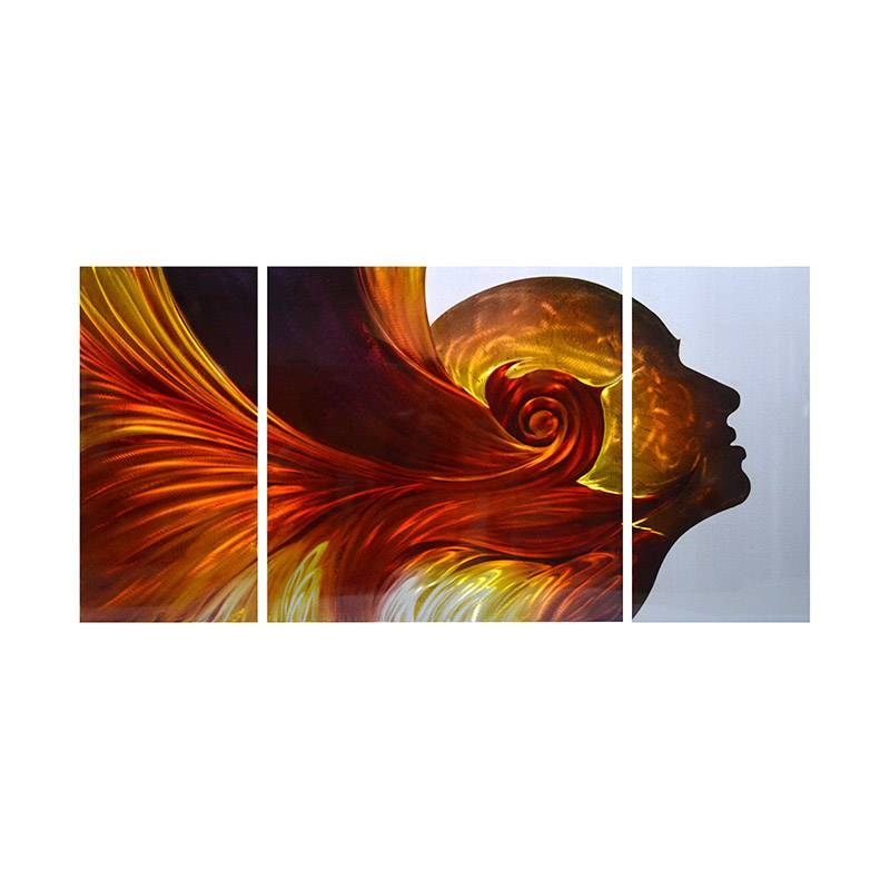 Elegant face 3D metal oil painting modern wall art decor 100% handmade