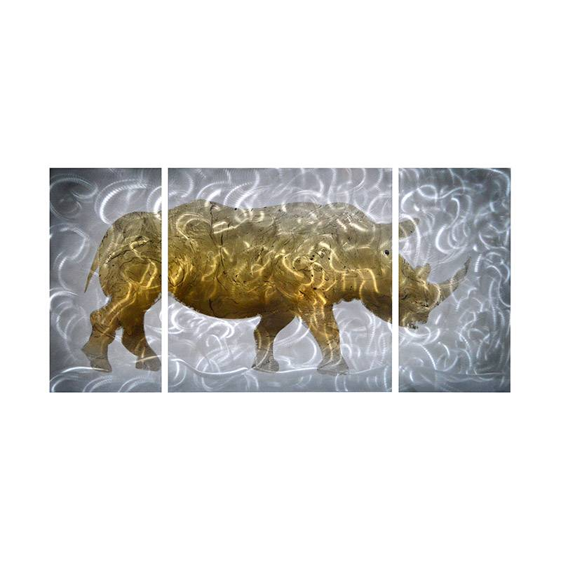 African rhinoceros animal 3D metal oil painting modern wall art decor 100% handmade