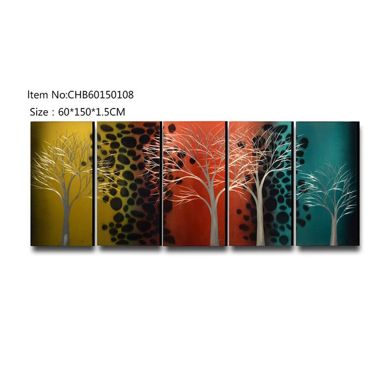 Mix color tree 3D handmade oil painting modern metal wall art decoration