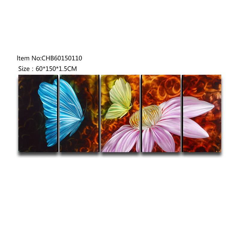 Butterfly 3D handmade oil painting modern metal wall art decoration