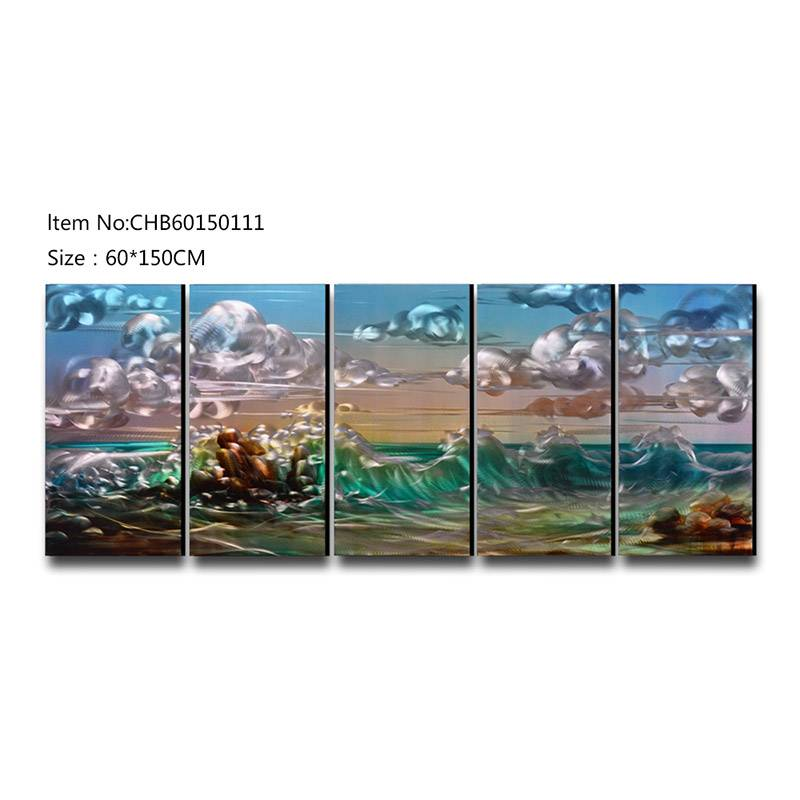 Seascape 3D handmade oil painting modern metal wall art decoration