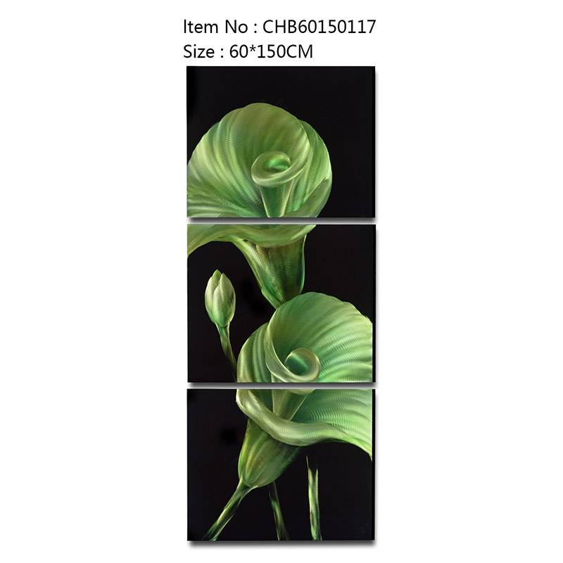 Calla lily green 3D handmade oil painting modern metal wall art decoration