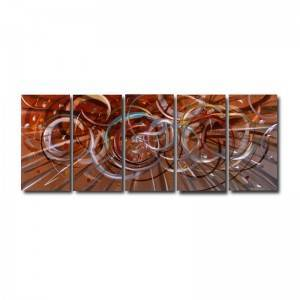 brown abstract 3D metal brush oil painting modern interior wall arts crafts from China factory