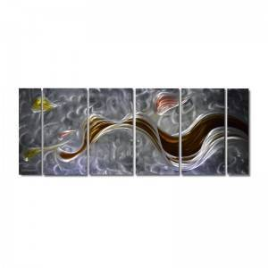 Abstract silver brown 3D metal oil painting modern interior wall crafts wholesale from China manufacturer
