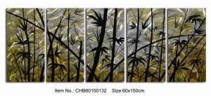 yellow gold black bamboo 3D metal oil painting modern 5 panels wall arts wholesale from China factory