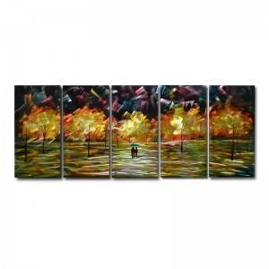 couples lovers in sunset 3D metal oil painting 5 panels wall arts wholesale from China manufacturer