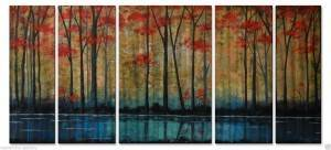 Autumn forest red blue 3D metal oil painting modern wall crafts 5 panels big size wholesale