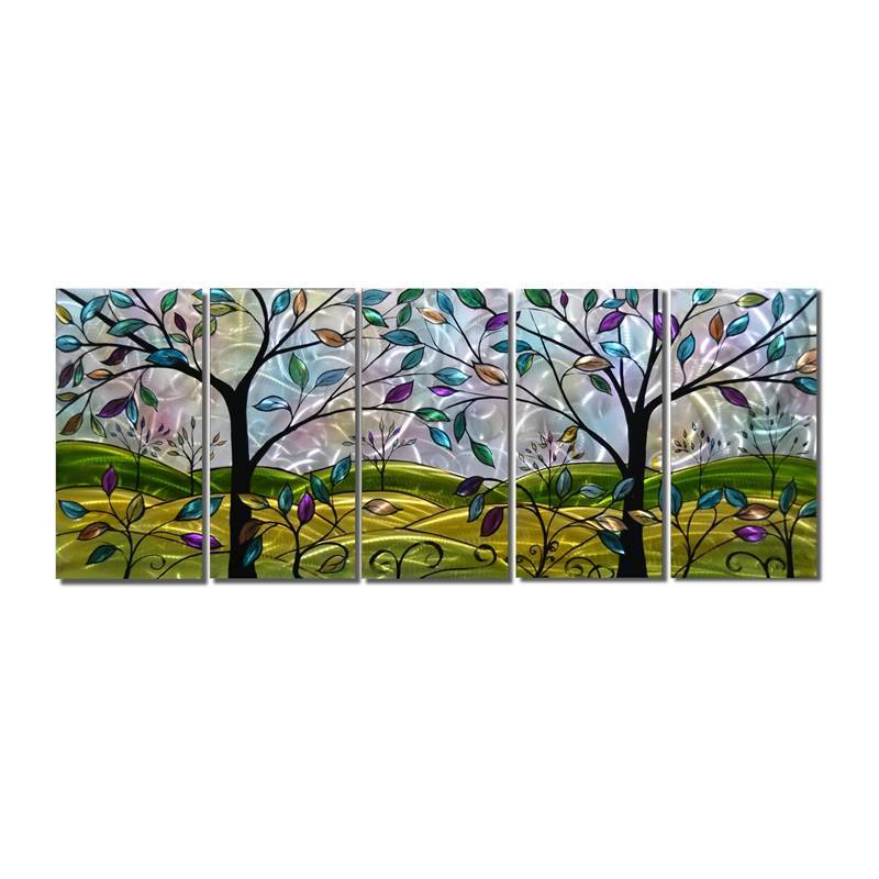 Colorful fairy trees 3D metal oil painting brushed wall crafts large size 5 panels wholesale Featured Image