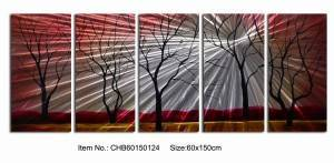 Red black trees 3D metal oil painting brushed aluminum wall artworks wholesale from China factory