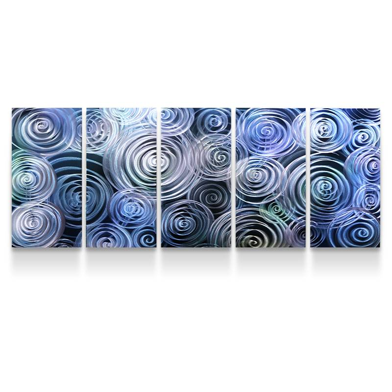 Abstract blue swirl 3D metal oil painting modern interior wall arts decor 100% handmade