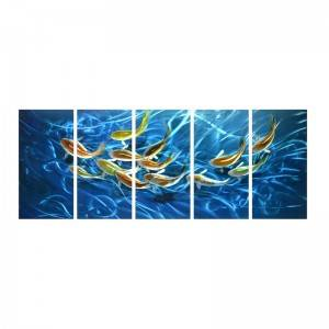 School of fish blue 3D handmade oil painting modern metal wall art decoration