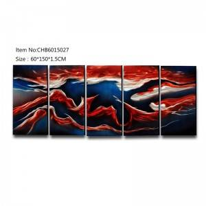 Abstract mix color 3D handmade oil painting modern metal wall art decoration
