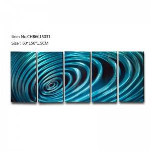 Blue swirl abstract 3D handmade oil painting modern metal wall art decoration