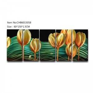 Gold tulip 3D handmade oil painting modern metal wall art decoration