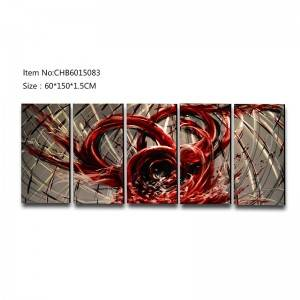 Abstract blood red 3D handmade oil painting modern metal wall art decoration