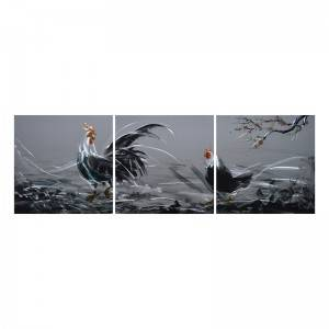 Rooster 3D metal oil painting modern home wall art decor large size