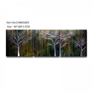 Color mix trees 3D metal oil painting modern home wall art decor large size