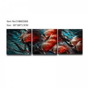 School of fish 3D metal oil painting modern home wall art decor large size