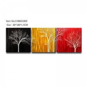 Mix color trees 3D metal oil painting modern home wall art decor large size