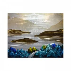 Mountain landscape 3D handpaint metal oil painting modern home wall art decoration large size