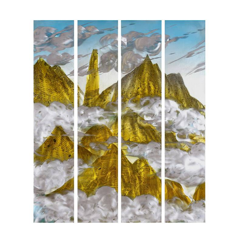Mountain landscape 3D brush gold metal oil painting modern home wall art decoration large size Featured Image