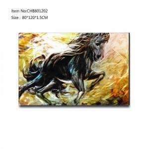 Handpaint 3D metal running horse oil painting contemprory wall art home decoration
