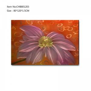 Handpaint 3D metal flower oil painting contemprory wall art home decoration