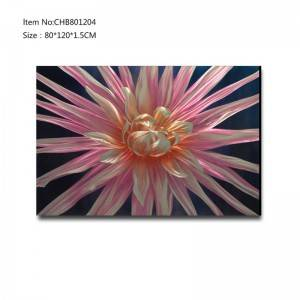 Handpaint 3D metal pink flower oil painting contemprory wall art home decoration