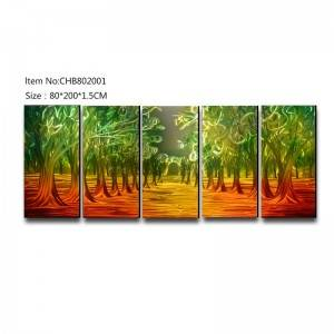 5 pieces forest 3D metal handmade oil painting big size wall art decor