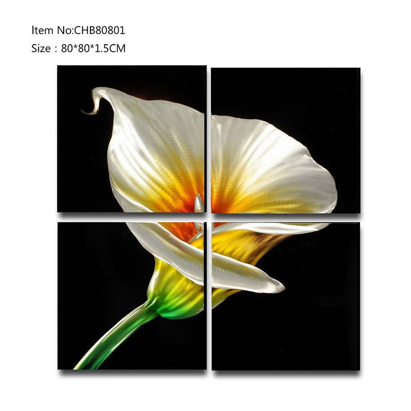 Calla lily 3D metal flower oil painting modern  interior home wall art decor