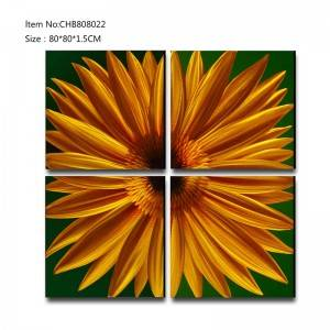 Sunflower 3D metal gold oil painting modern  interior home wall art decor