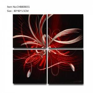 Abstract 3D metal dark red oil painting modern  interior home wall art decor
