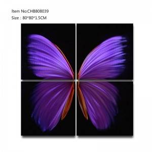 Butterfly 3D metal purple oil painting modern  interior home wall art decor