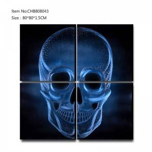 Shiny skull 3D metal blue oil painting modern  interior home wall art decor