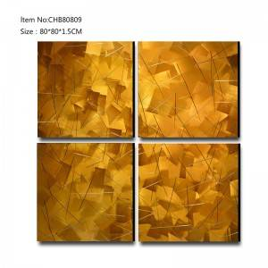 abstract 3D metal gold oil painting modern  interior home wall art decor