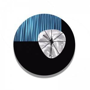 3D abstract blue black silver metal wall clock wholesale from China factory