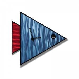3D metal brush aluminum blue red fish wall clock wholesale from China manufacturer