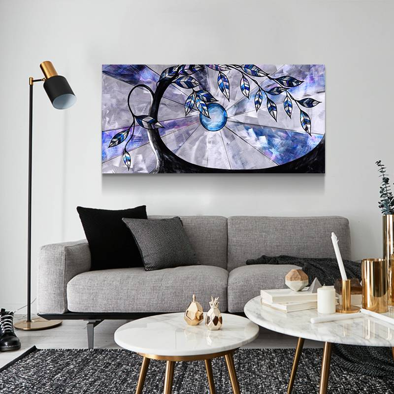Fairy Tree 3D Blue Metal Oil Painting Modern Interior Home Wall Arts Decor