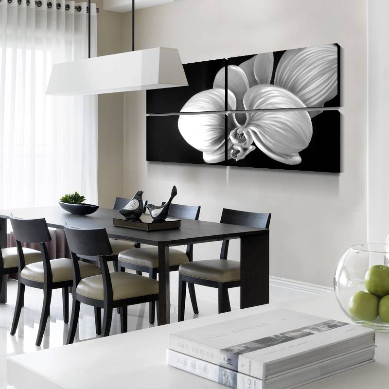 Flower Blossom 3D Metal Oil Painting for Modern Interior Home Decoration Black Silver Colors