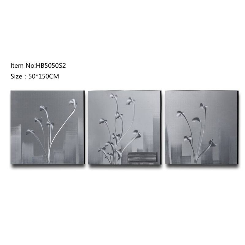3D brush flower metal oil painting moder wall arts home decor crafts
