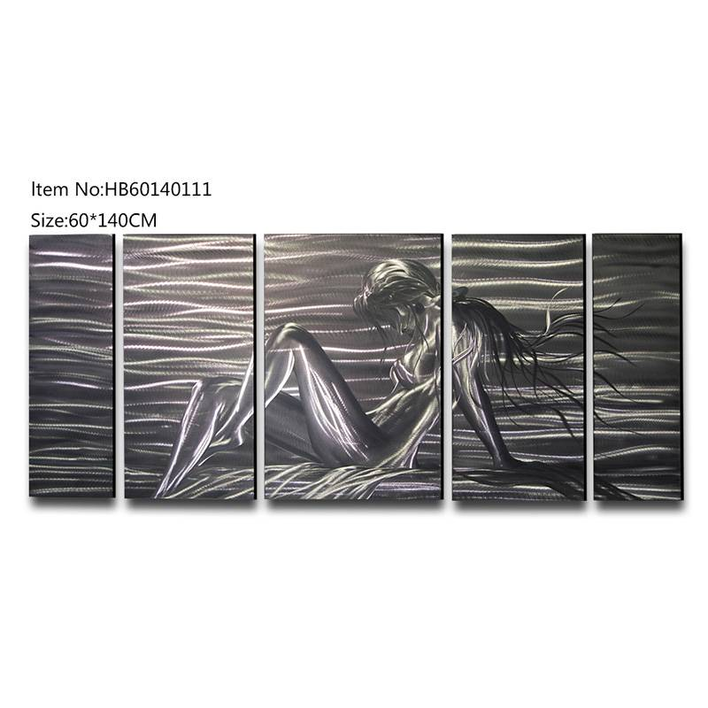 5 pieces large size sexy nude handmade metal oil painting modern wall arts