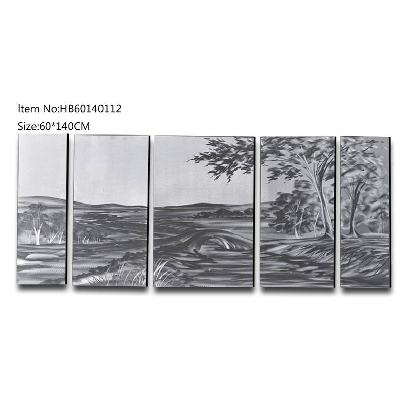 5 pieces large size village landscape handmade metal oil painting modern wall arts